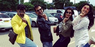 Pawan singh london pic with aksara, dinesh, amrapali